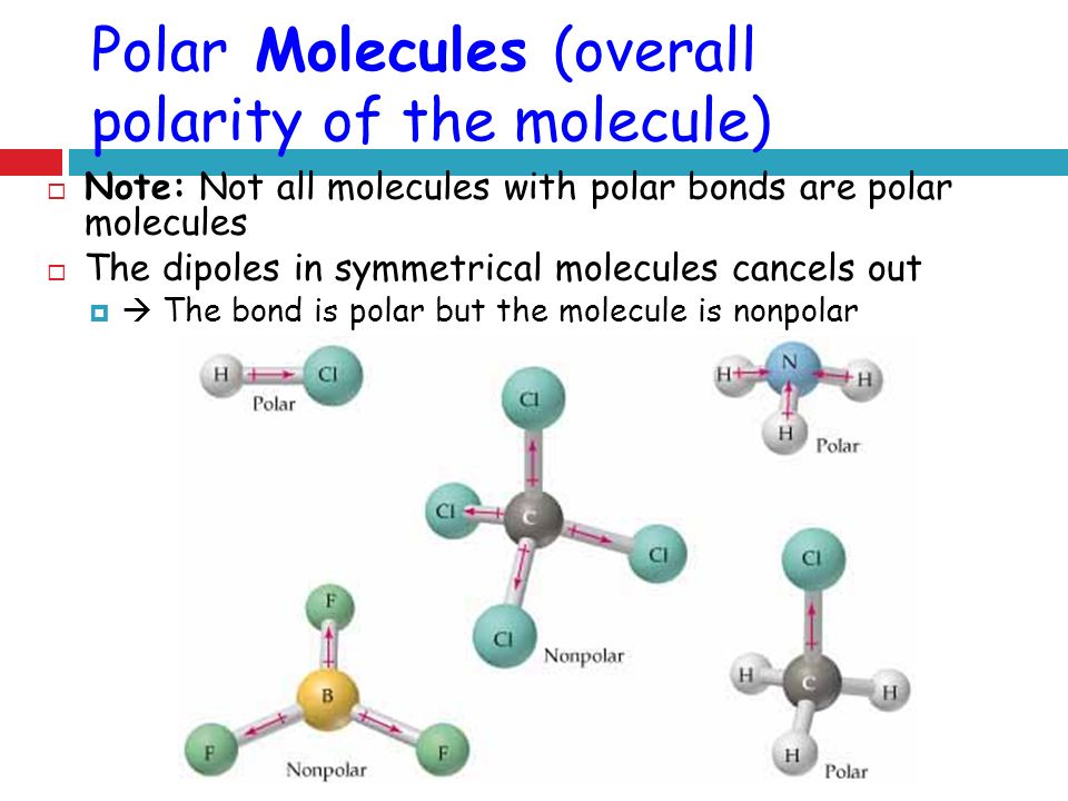 Polar Molecules (overall polarity of the molecule)