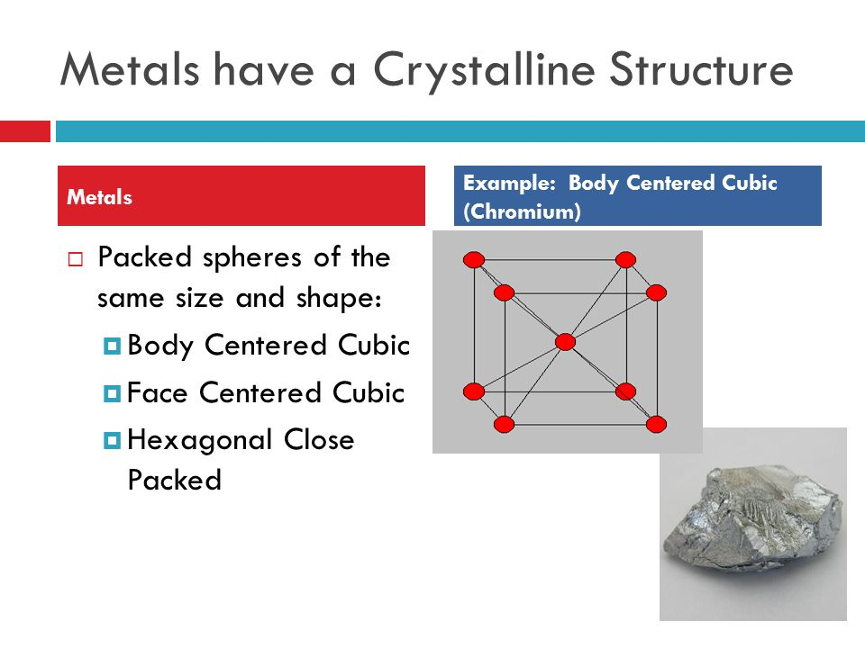 Metals have a Crystalline Structure