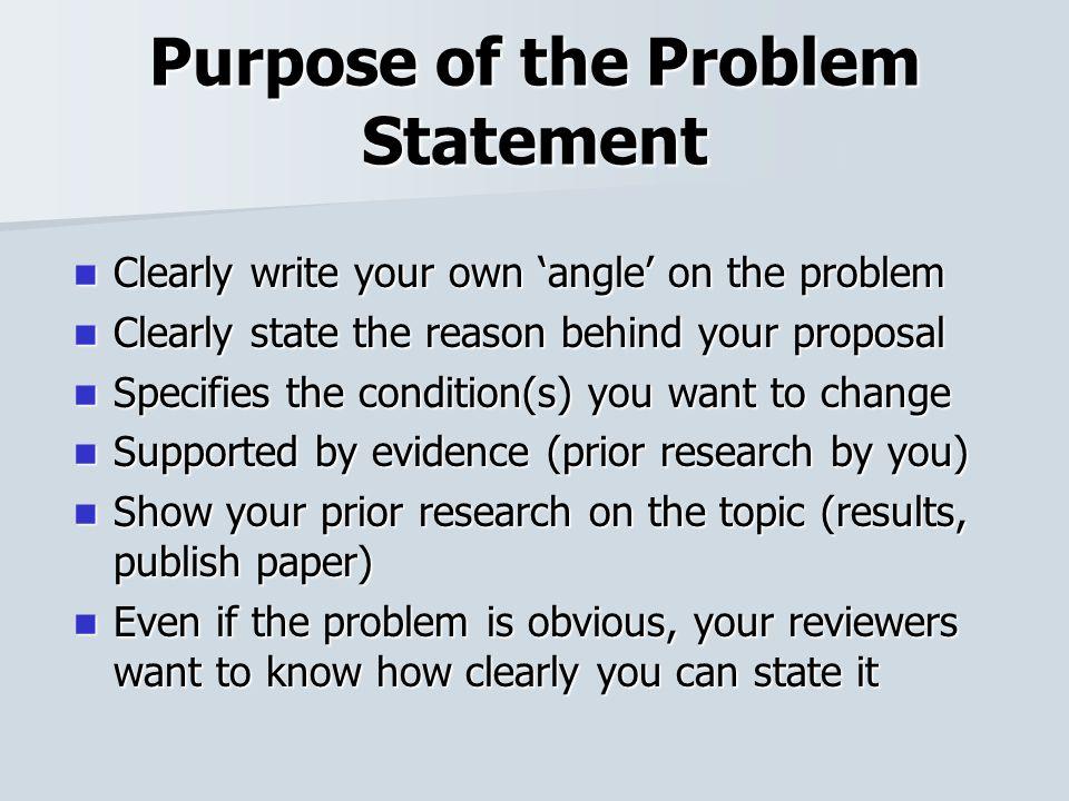 how to write a problem statement for a research proposal