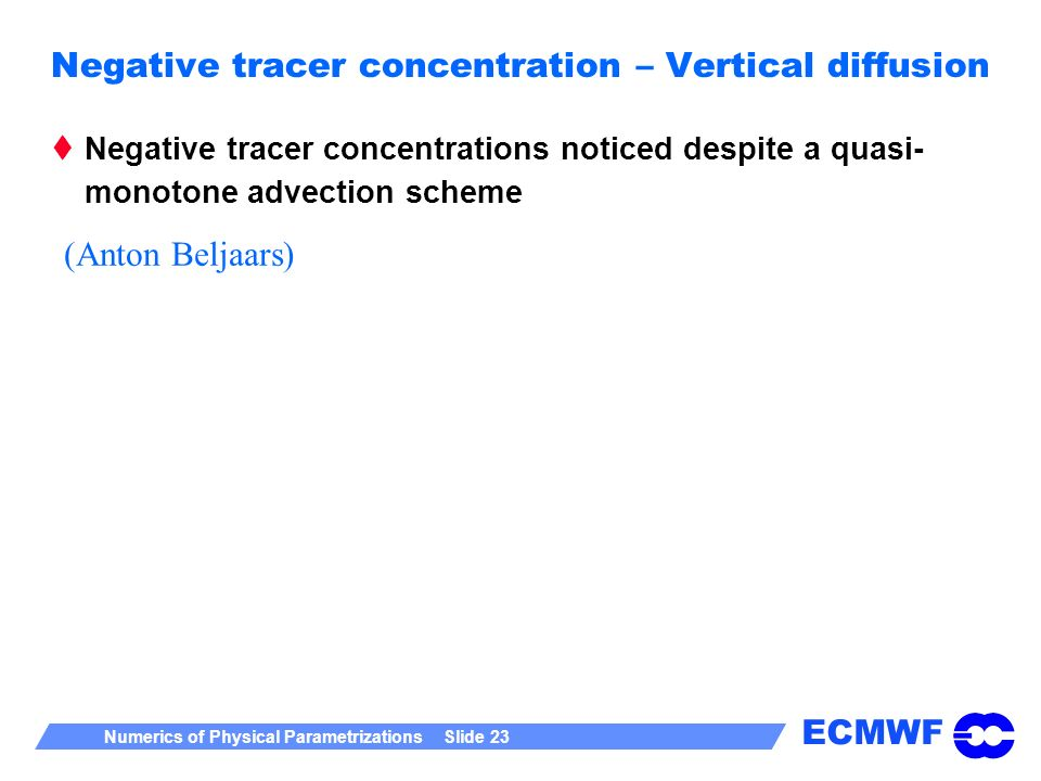Negative tracer concentration – Vertical diffusion