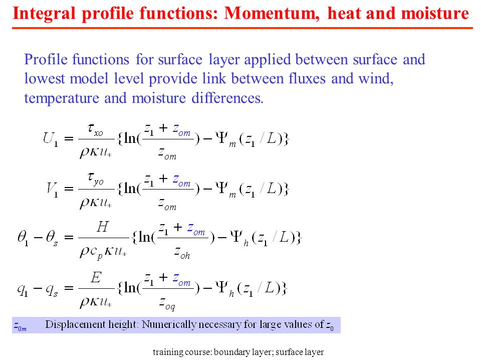 Integral profile functions: Momentum, heat and moisture