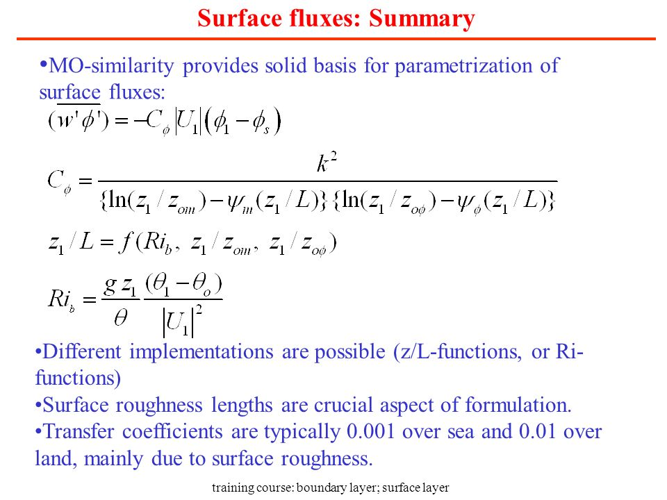 Surface fluxes: Summary