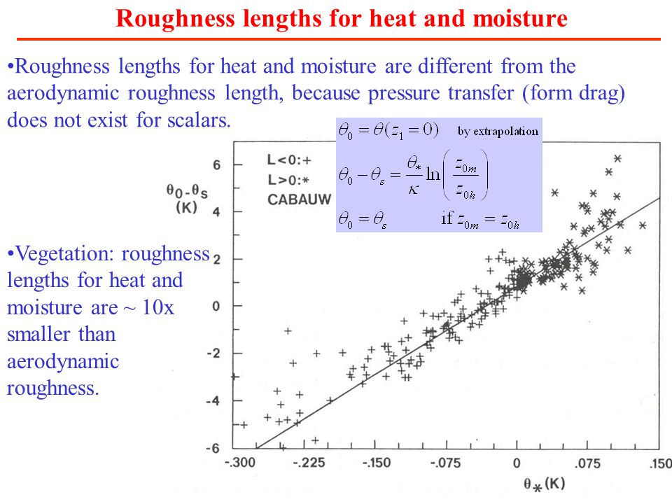 Roughness lengths for heat and moisture