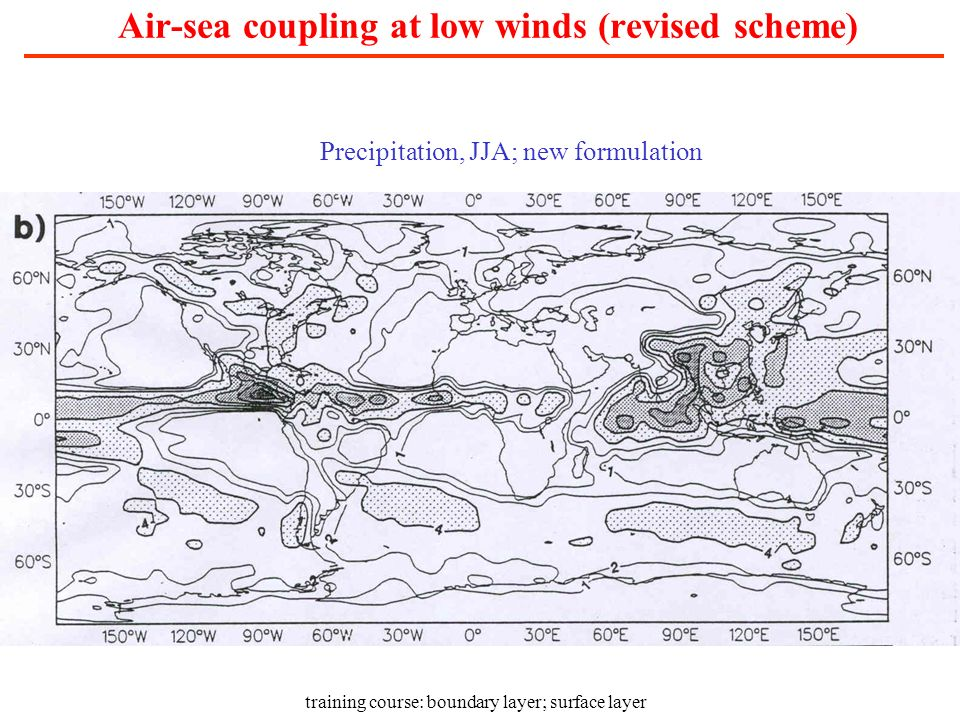 Air-sea coupling at low winds (revised scheme)