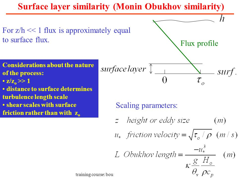 Surface layer similarity (Monin Obukhov similarity)