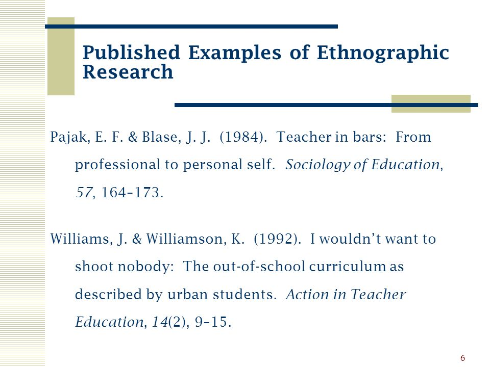 personal ethnography examples
