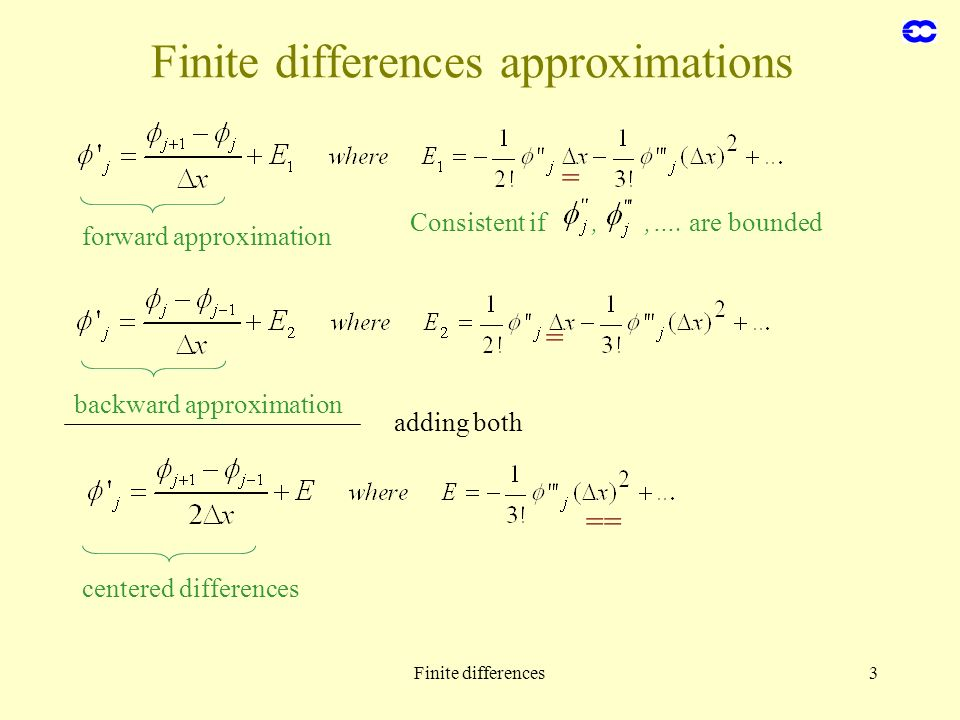 Finite differences approximations