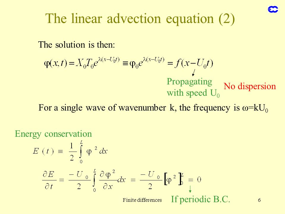 The linear advection equation (2)