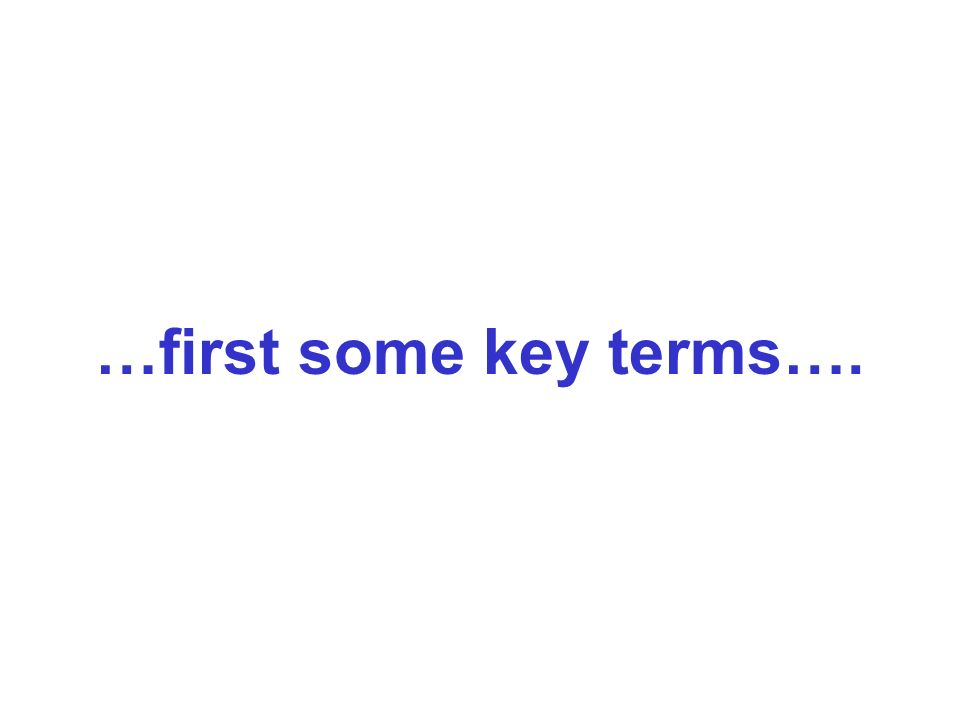 …first some key terms….
