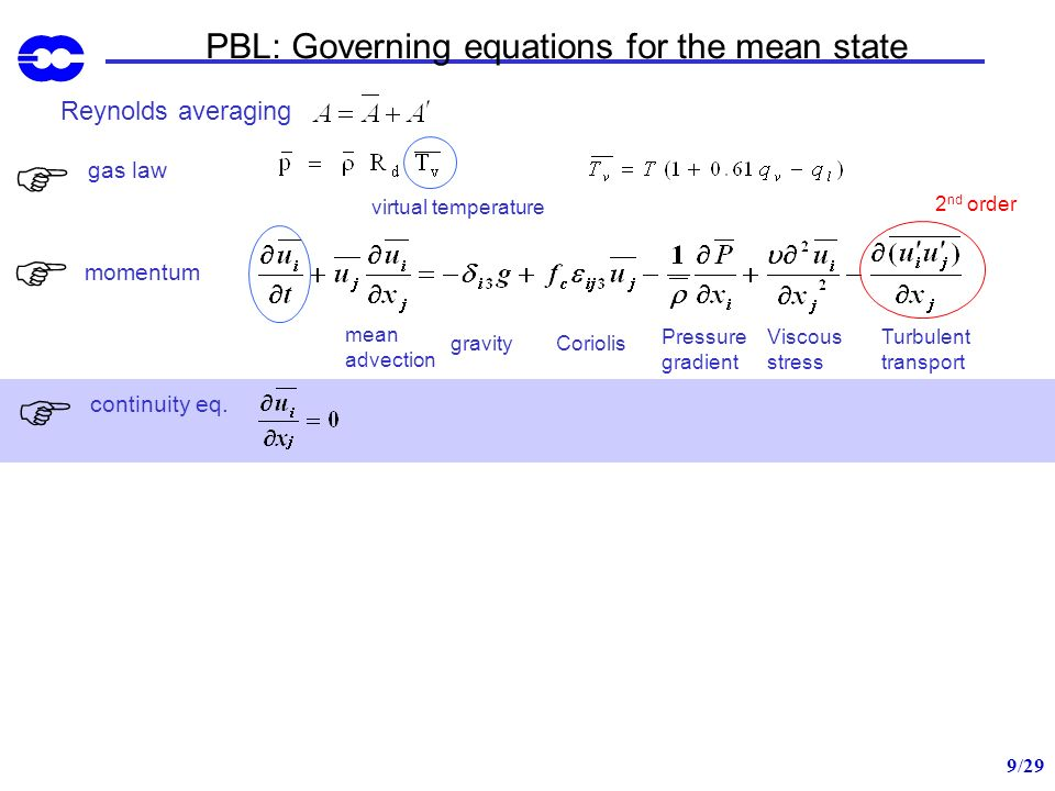 PBL: Governing equations for the mean state