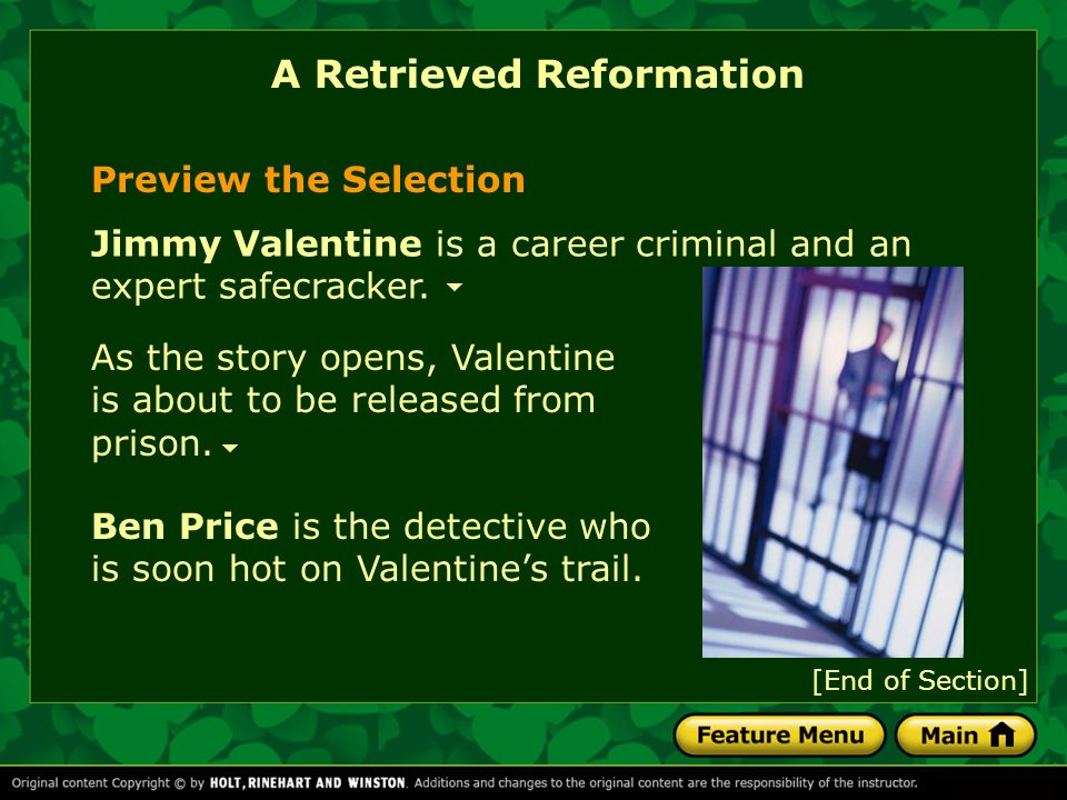 the plot summary of a retrieved reformation a short story by o henry Follow by email short story #284: a retrieved reformation by o henry a fun story with some amusing naming conventions jimmy valentine loses his heart in elmore the name ralph d spencer has the double meaning of to vomit and to dispense.