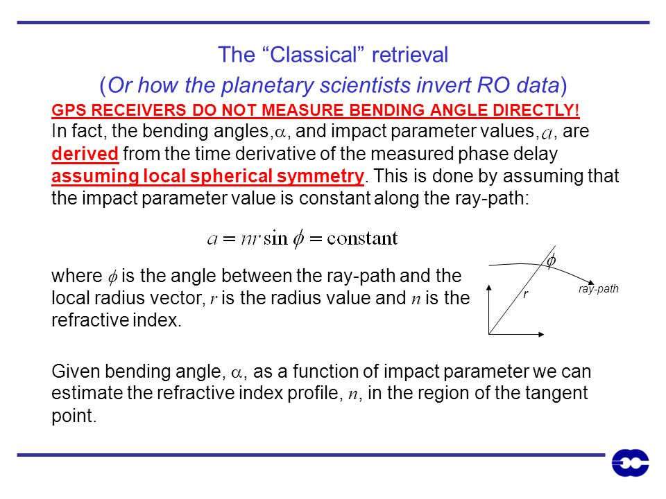 The Classical retrieval (Or how the planetary scientists invert RO data)