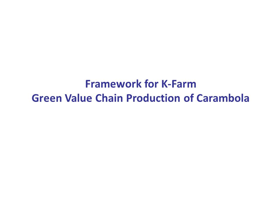 Framework for K-Farm Green Value Chain Production of Carambola