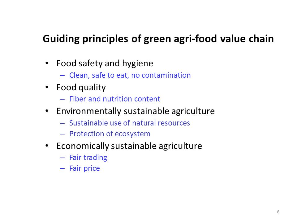 Guiding principles of green agri-food value chain