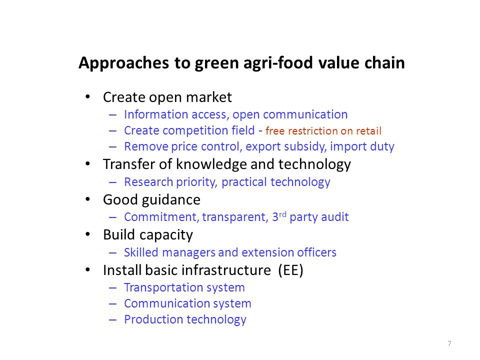 Approaches to green agri-food value chain