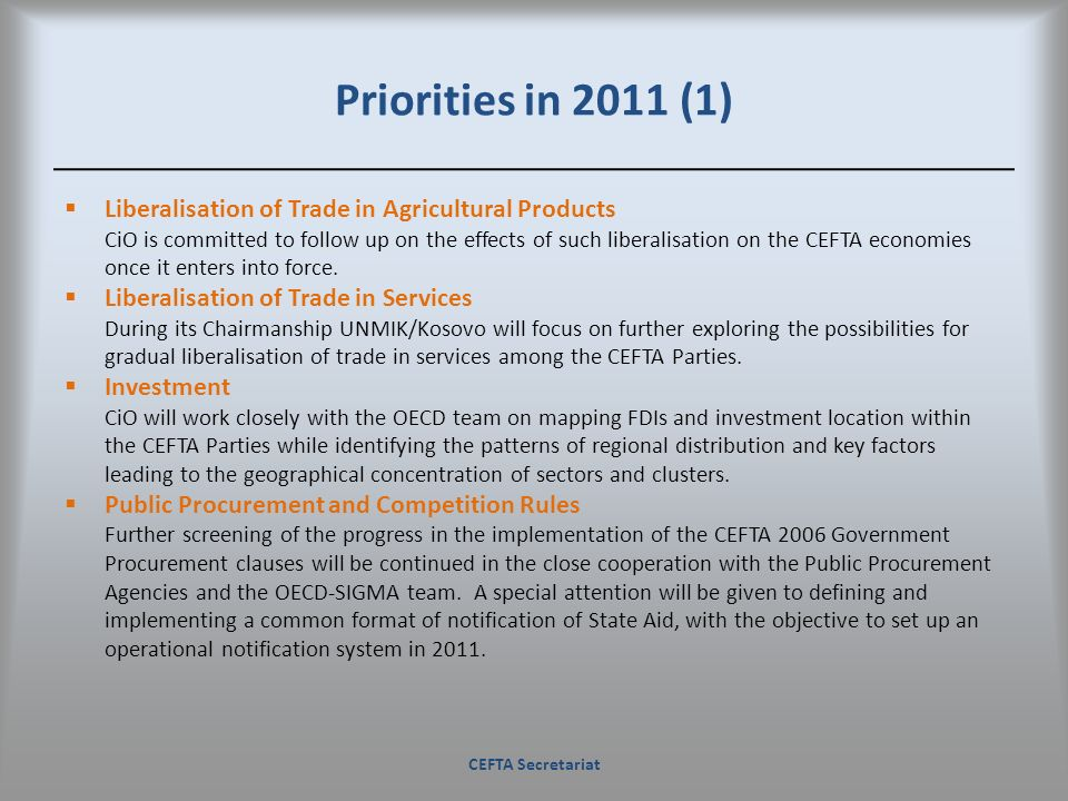 Priorities in 2011 (1) Liberalisation of Trade in Agricultural Products.