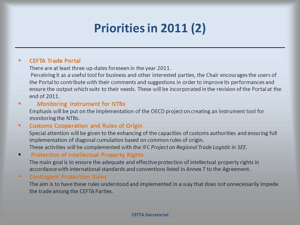 Priorities in 2011 (2) CEFTA Trade Portal