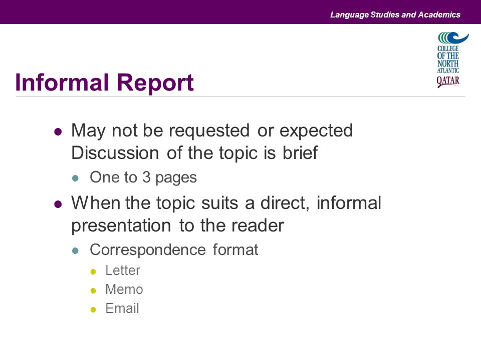 Differences And Similarities With Informal And Formal Reports Ppt
