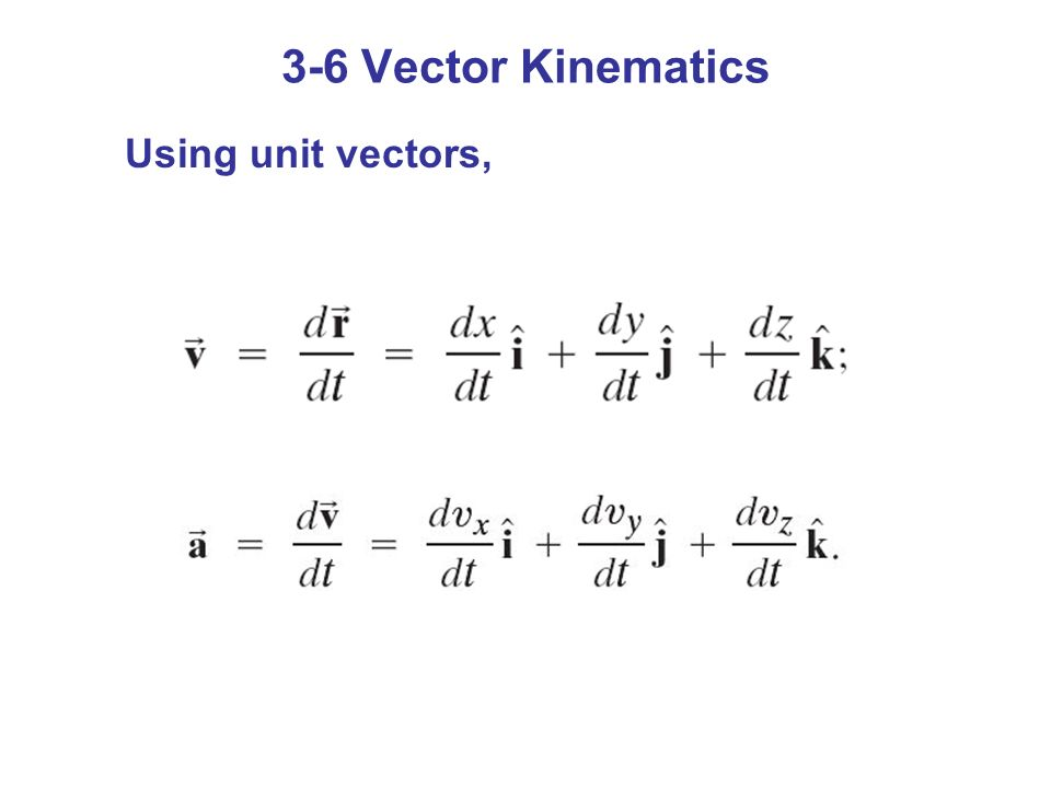 3-6 Vector Kinematics Using unit vectors,