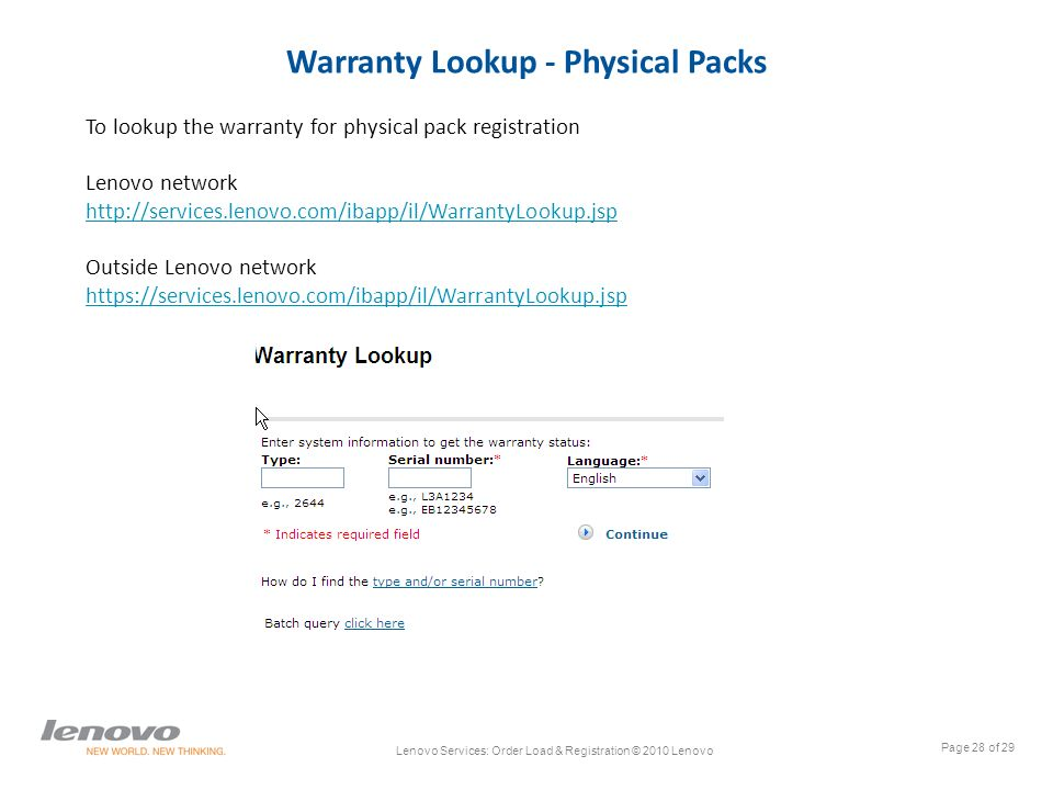 LENOVO SERVICES Ordering & registering services warranty May 2011