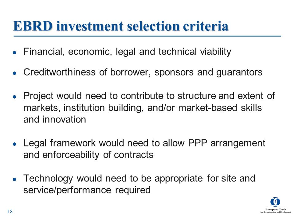 EBRD investment selection criteria