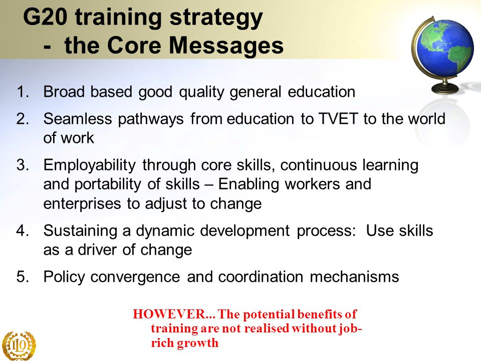 G20 training strategy - the Core Messages