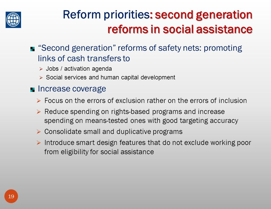 Reform priorities: second generation reforms in social assistance