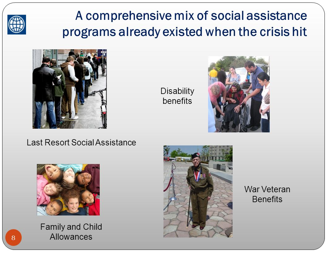 A comprehensive mix of social assistance programs already existed when the crisis hit