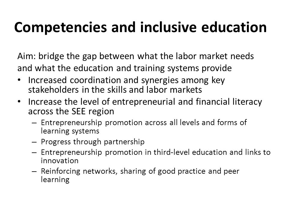 Competencies and inclusive education