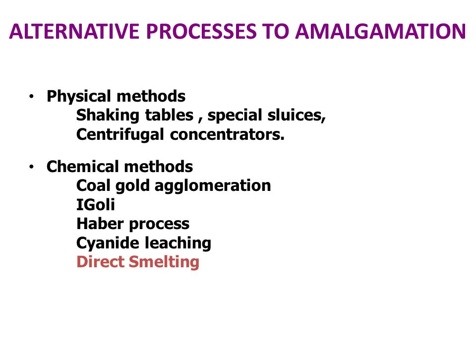 ALTERNATIVE PROCESSES TO AMALGAMATION