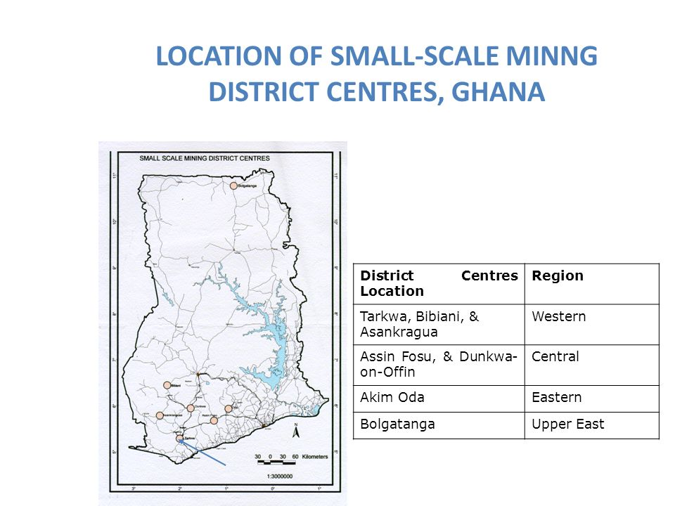 LOCATION OF SMALL-SCALE MINNG DISTRICT CENTRES, GHANA