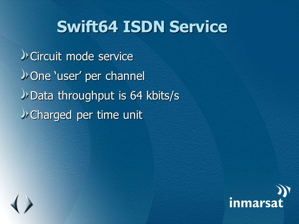 Swift64 ISDN Service Circuit mode service One 'user' per channel