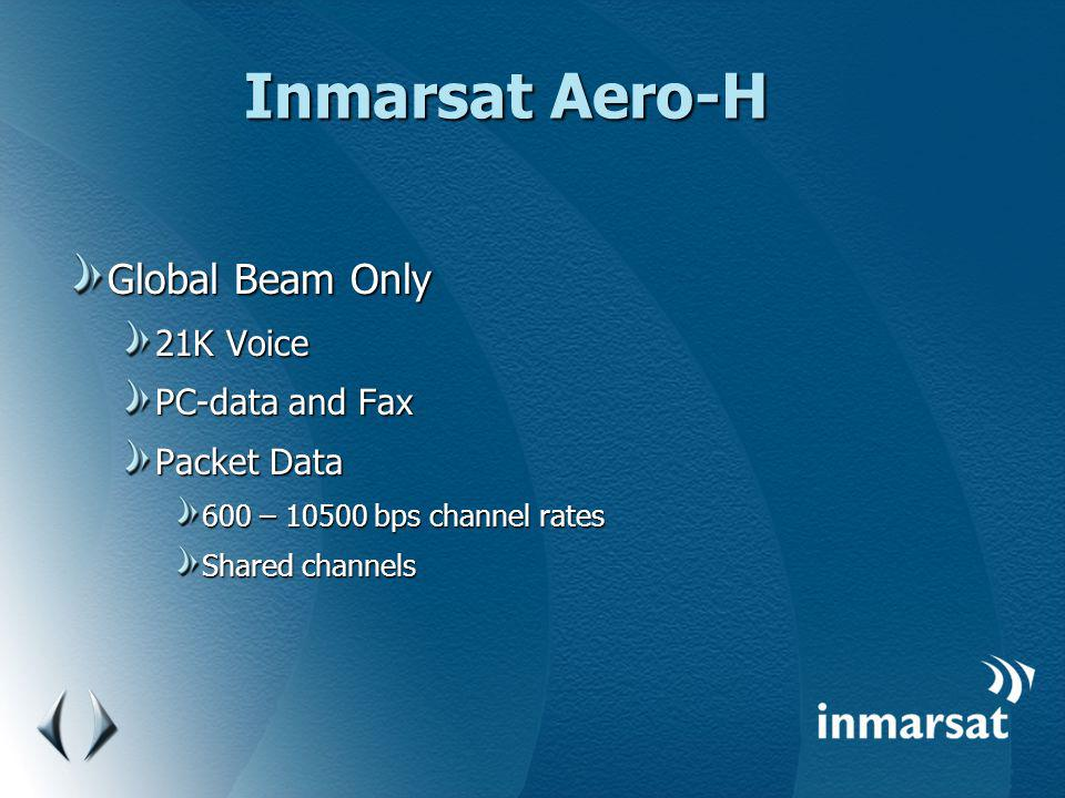 Inmarsat Aero-H Global Beam Only 21K Voice PC-data and Fax Packet Data