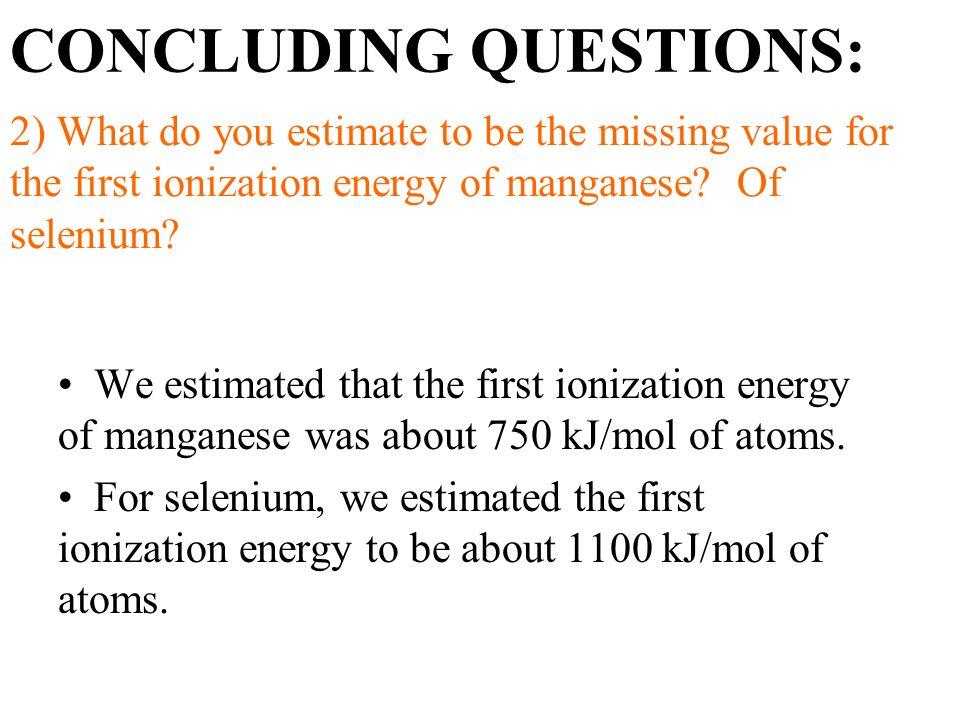 first ionization energy of selenium