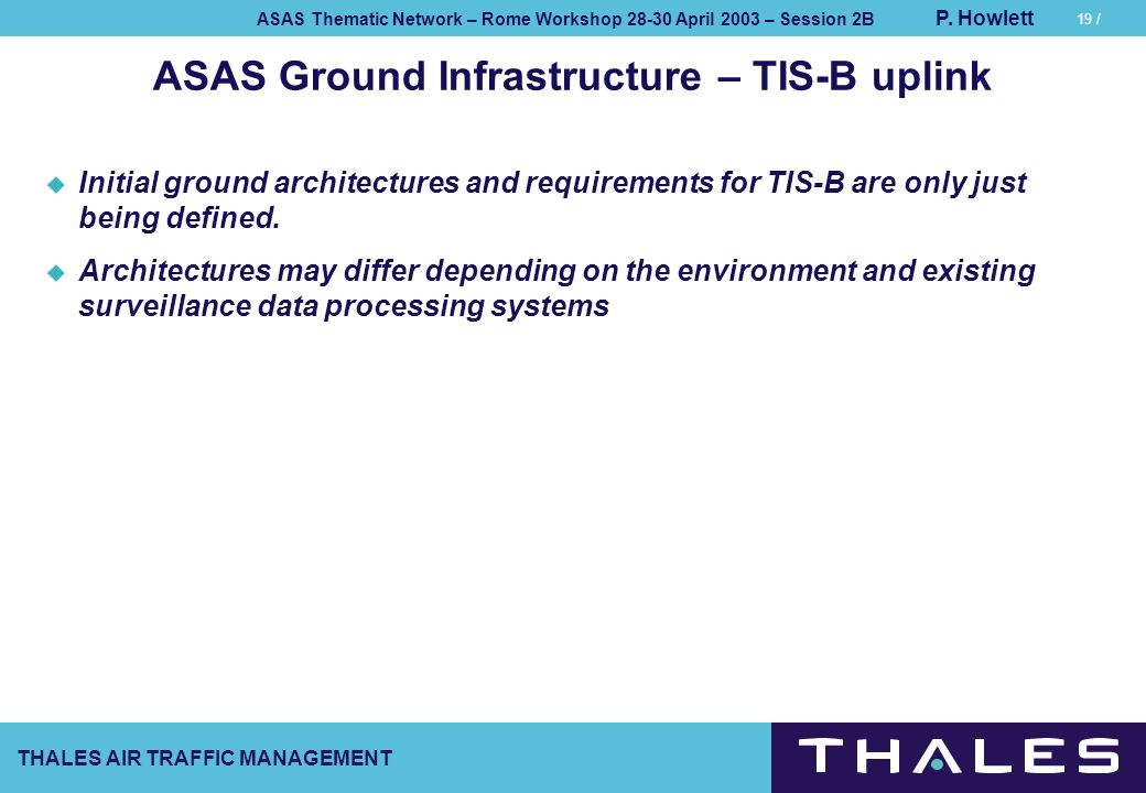 ASAS Ground Infrastructure – TIS-B uplink