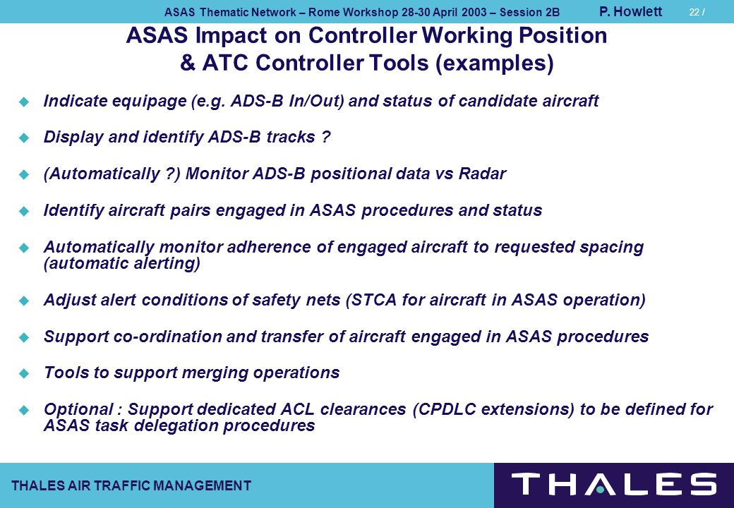 ASAS Impact on Controller Working Position & ATC Controller Tools (examples)
