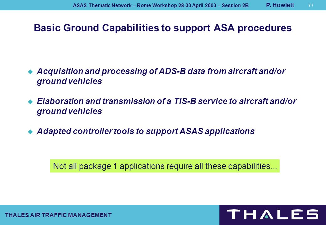 Basic Ground Capabilities to support ASA procedures