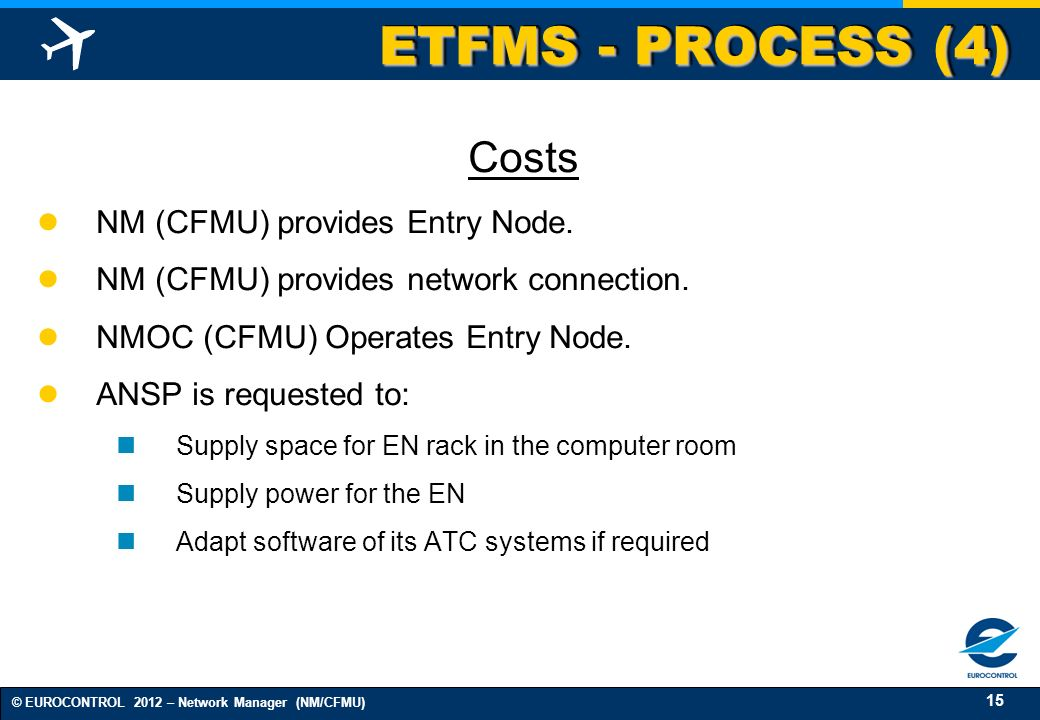 ETFMS - PROCESS (4) Costs NM (CFMU) provides Entry Node.