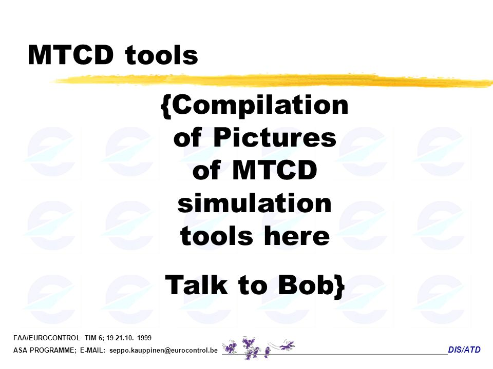 {Compilation of Pictures of MTCD simulation tools here