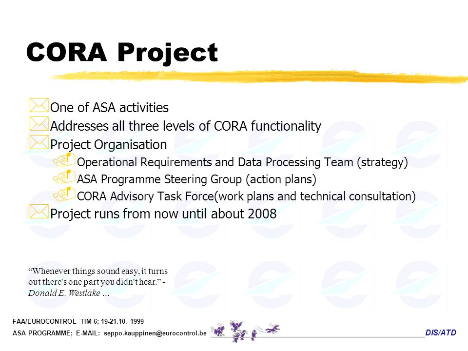 CORA Project One of ASA activities