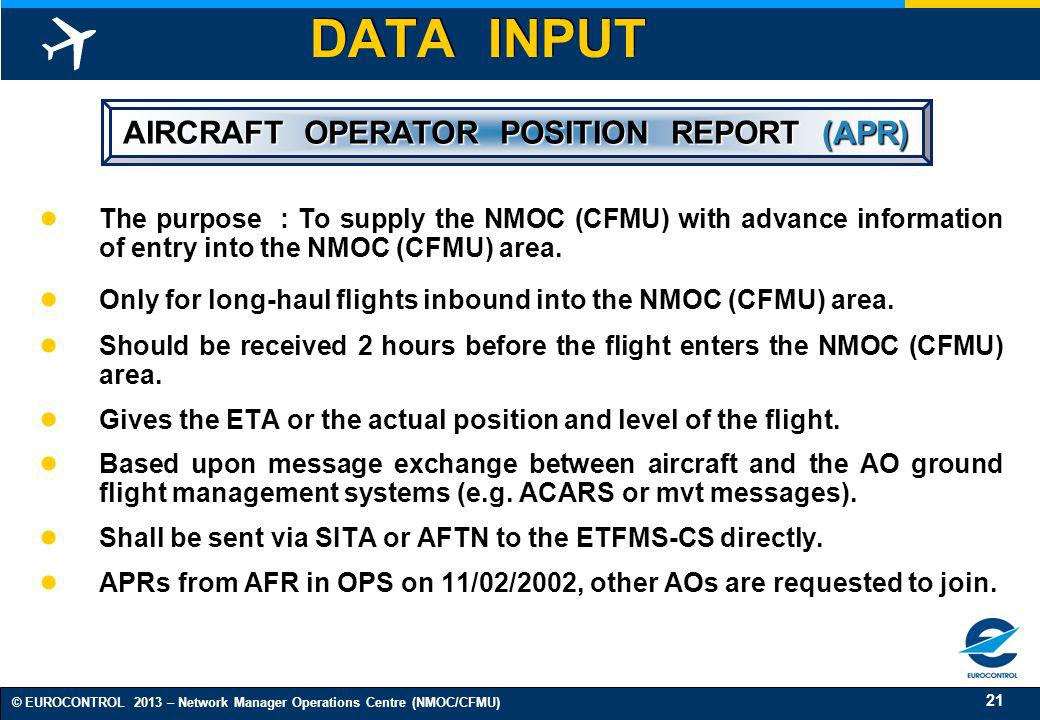 AIRCRAFT OPERATOR POSITION REPORT (APR)