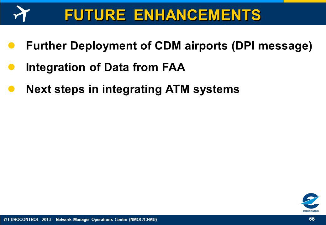 FUTURE ENHANCEMENTS Further Deployment of CDM airports (DPI message)