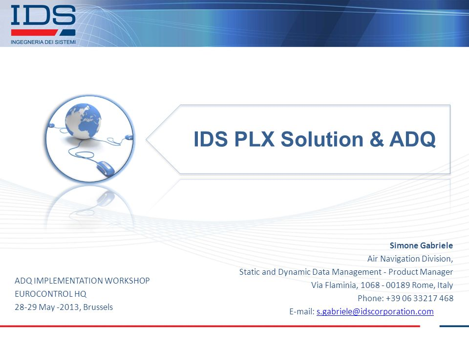 IDS PLX Solution & ADQ Simone Gabriele Air Navigation Division,