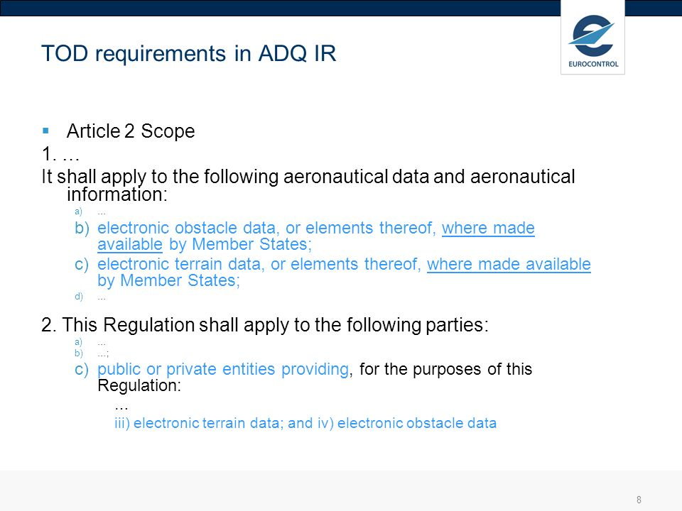 TOD requirements in ADQ IR