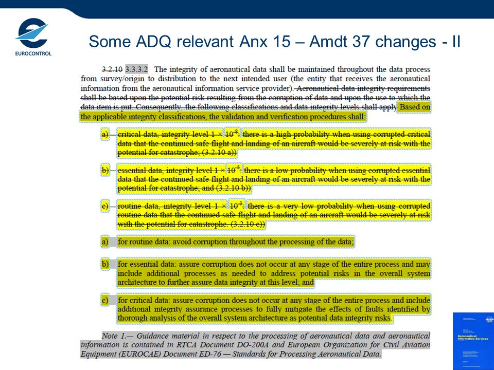 Some ADQ relevant Anx 15 – Amdt 37 changes - II