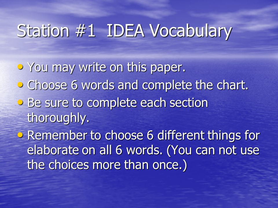 Station #1 IDEA Vocabulary