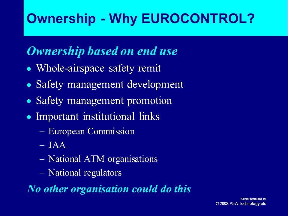 Ownership - Why EUROCONTROL