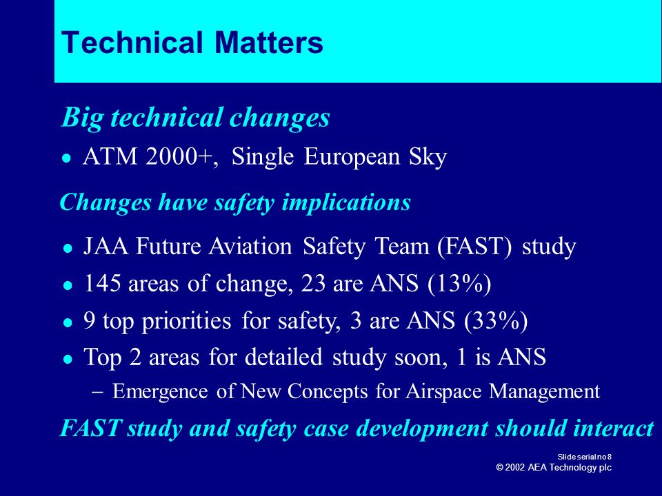 Technical Matters Big technical changes ATM 2000+, Single European Sky