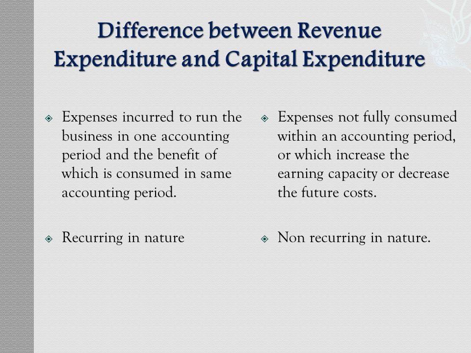 the difference between capital and revenue expenditure