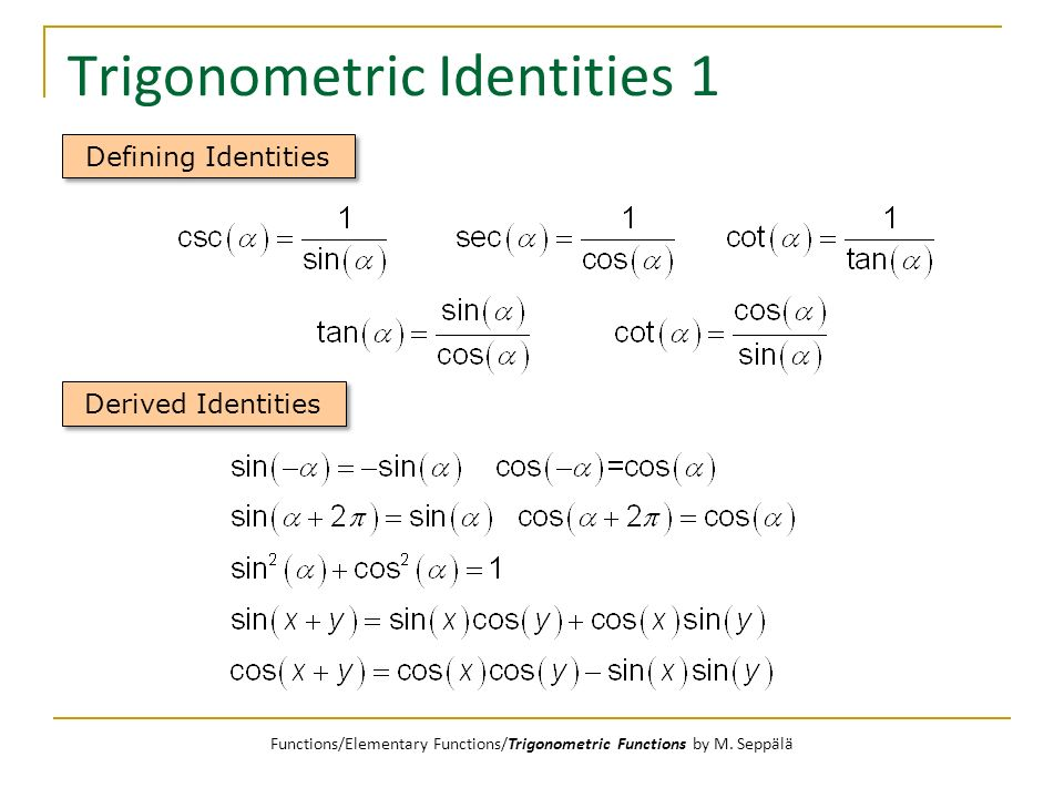 Trigonometric Identities 1